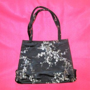 1990s vintage black satin asian purse oriental bag
